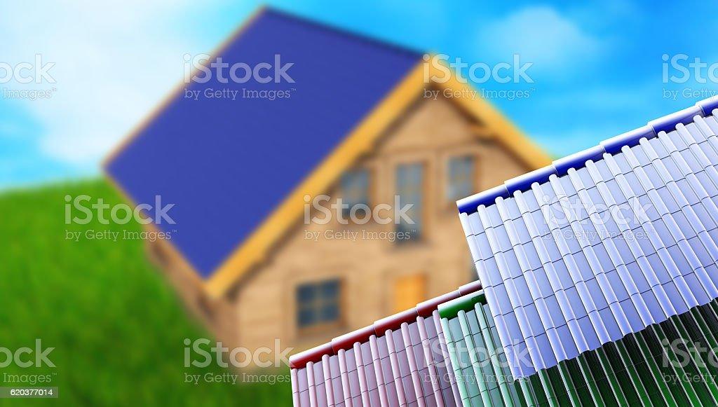 metal tile sheets 3d render on hause background foto de stock royalty-free