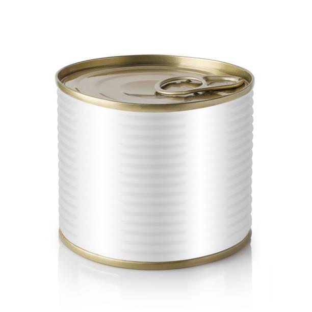 metal tin can on white - lata comida gato imagens e fotografias de stock