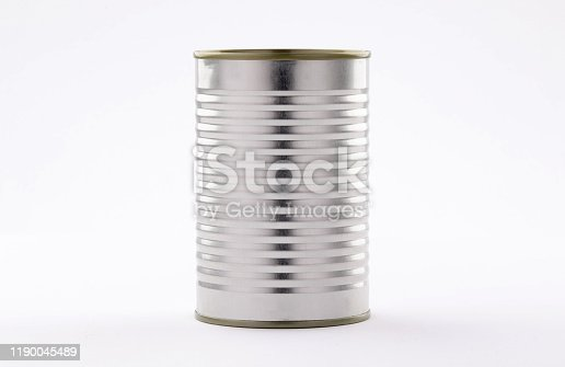 metal tin cans foods fruits Vegetables legumes tuna meat  easy open on white background high and low angle