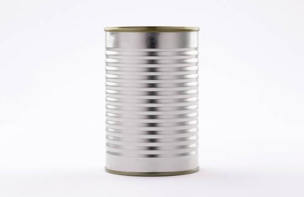 금속 주석 캔 식품 흰색 배경에 쉽게 열 - 캔 뉴스 사진 이미지