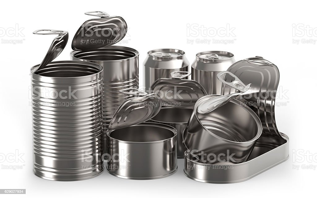 Metal tin cans stock photo