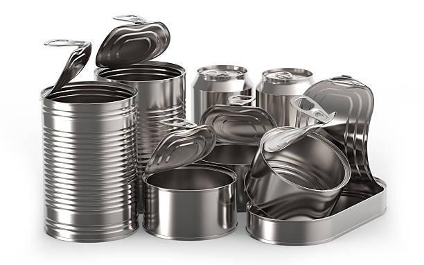 metal tin cans - aluminiumkiste stock-fotos und bilder