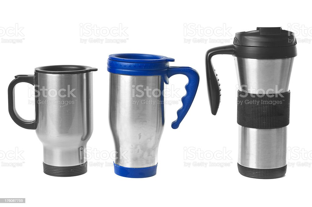 Metal Travel Coffee Mugs royalty-free stock photo