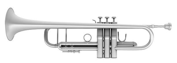 3D Metal Trumpet stock photo