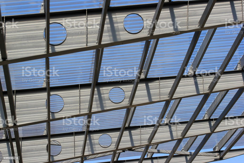 Metal Trusses Holding Transparent Plastic Roof Stock Photo