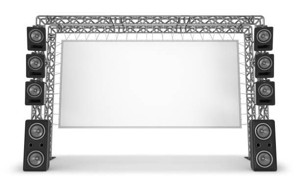 Metal trusses with a screen and acoustic systems. The equipment of a stage, a cinema. stock photo