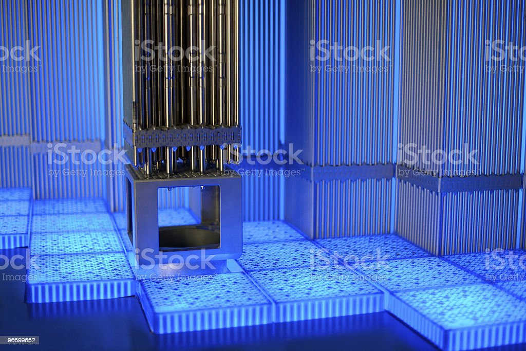Metal tubes in blue glow stock photo