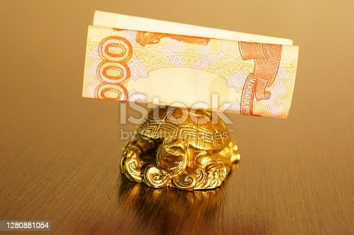 Metal turtle is a symbol of financial stability and good luck in business. On the back of the turtle is a banknote.