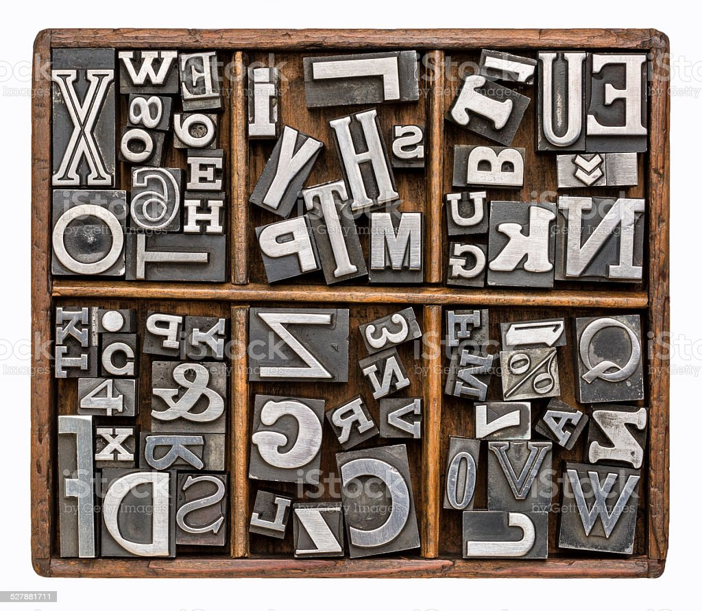 metal type alphabet stock photo