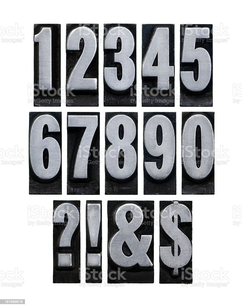 Metal type numbers & Symbol royalty-free stock photo