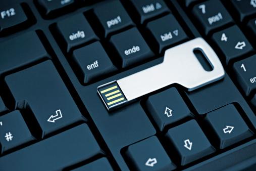 USB Stick Key on Keyboard
