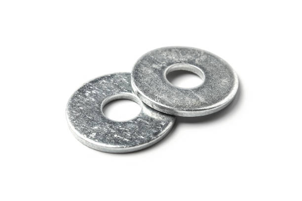 Metal washers Metal washers isolated on white background washer fastener stock pictures, royalty-free photos & images