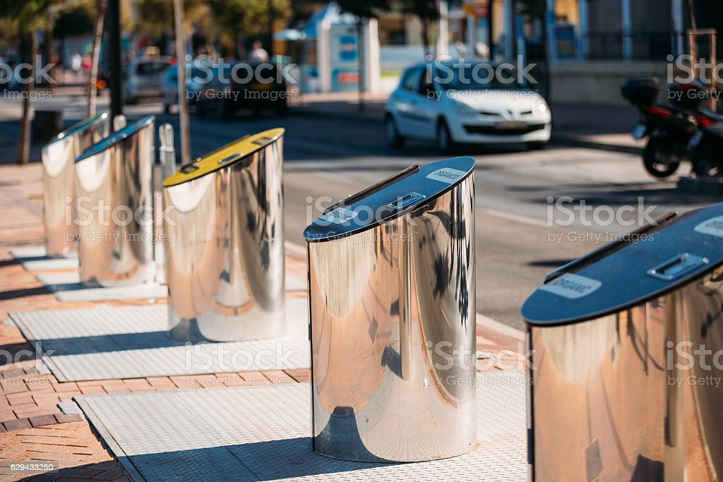Metal Waste Bins, Trash Cans For Separate Waste Outdoor stock photo