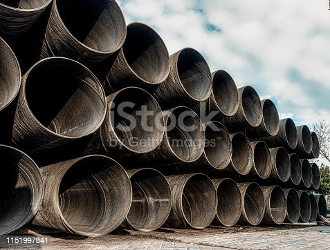 Metal water pipes construction site
