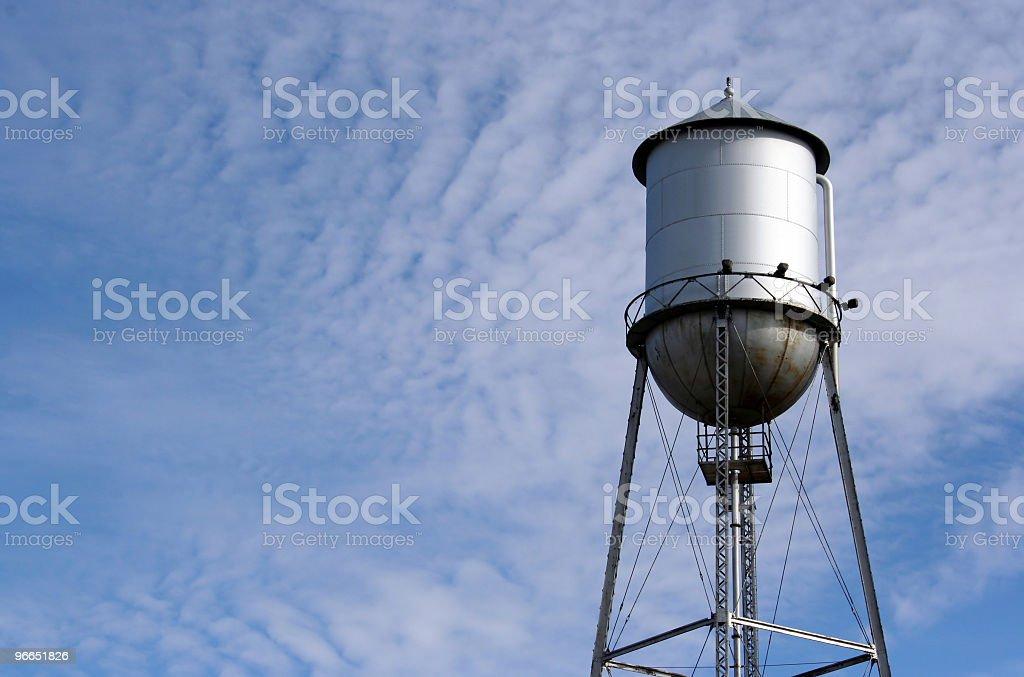 metal water tower stock photo
