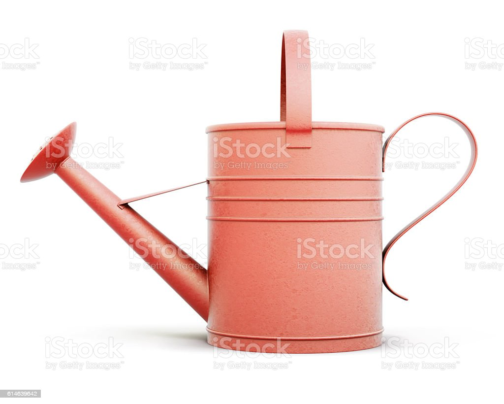 Metal watering can isolated on white background. Front view. 3d stock photo