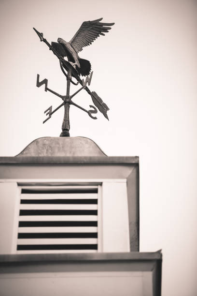 metal weather vane with eagle on top of cupola - cupola stock pictures, royalty-free photos & images