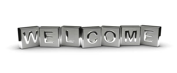 metal welcome text - welcome foto e immagini stock