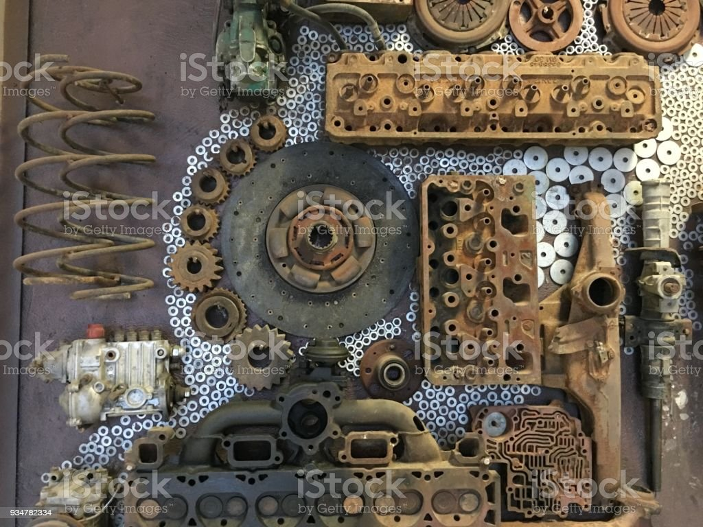 metal wheel and car parts stock photo