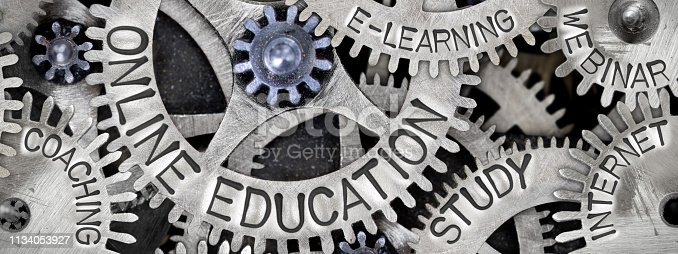 Macro photo of tooth wheels with ONLINE EDUCATION concept related words imprinted on metal surface