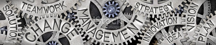 Horizontal group of tooth wheels with Change Management, Plan, Vision and Idea concept related words imprinted on metal surface
