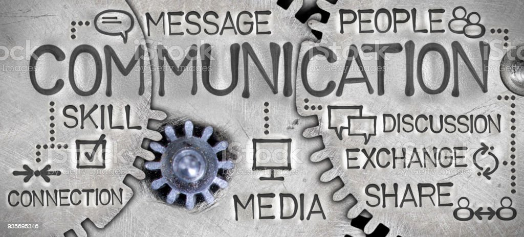 Metal Wheel Concept Macro photo of tooth wheel mechanism with COMMUNICATION concept related words and icons imprinted on metal surface Advertisement Stock Photo