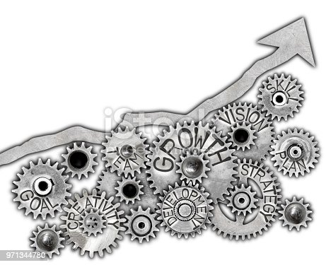 Photo of arrow made of metal plate pointing up and metal wheels with GROWTH concept related words isolated on white