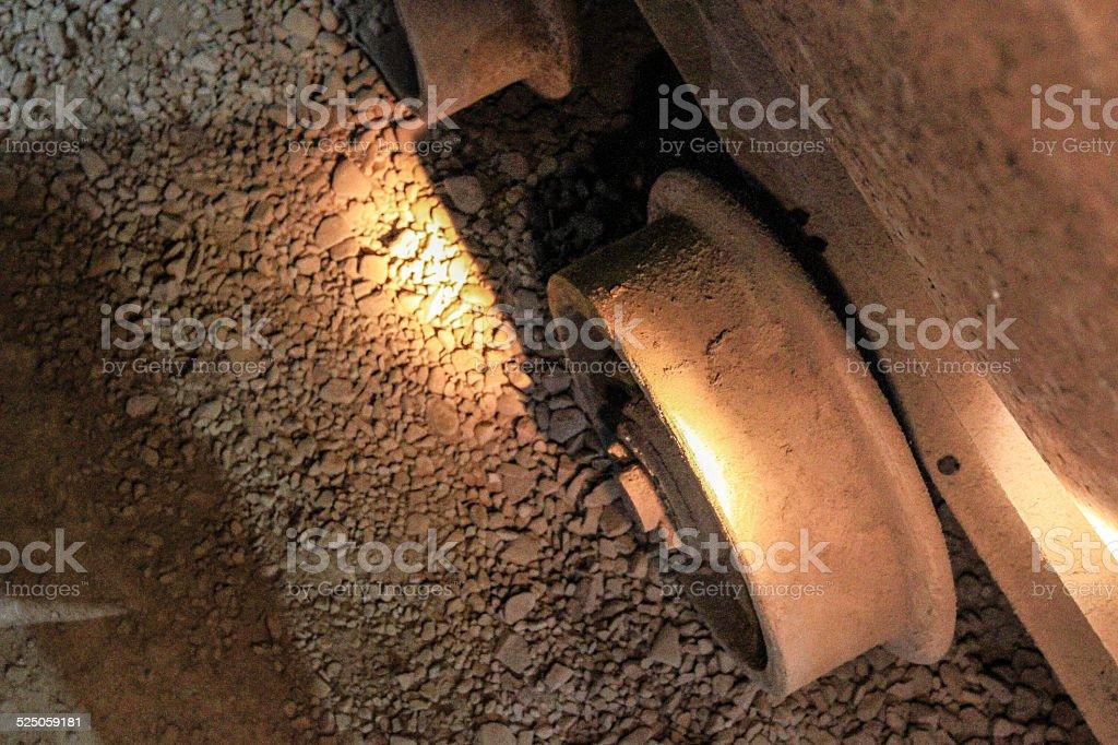 Metal wheel of mining car - bisbee arizona queen mine stock photo