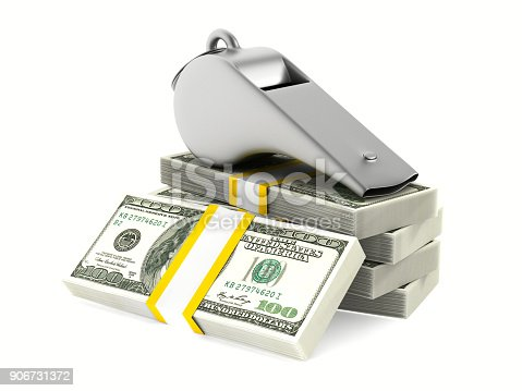 istock Metal whistle and money on white background. Isolated 3D illustration 906731372