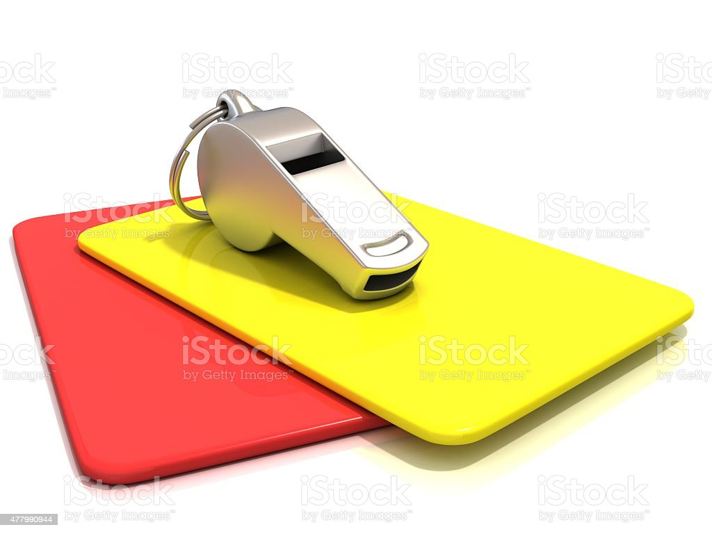 Metal whistle and penalty card, isolated. Side view stock photo