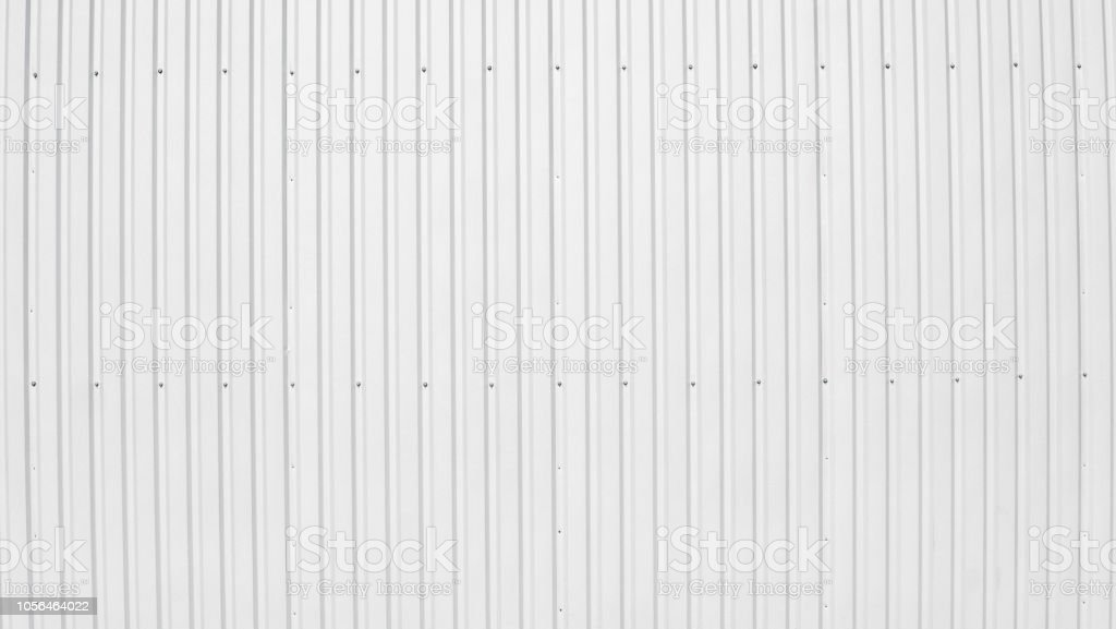 Metal white sheet for industrial building and construction on blue...
