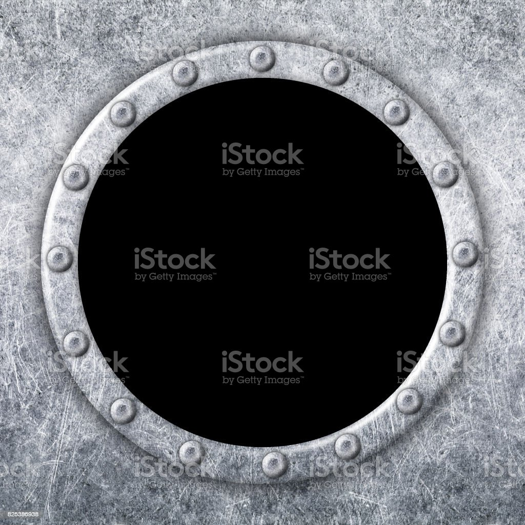 metal window frame for design, ship porthole, 3d, illustration stock photo