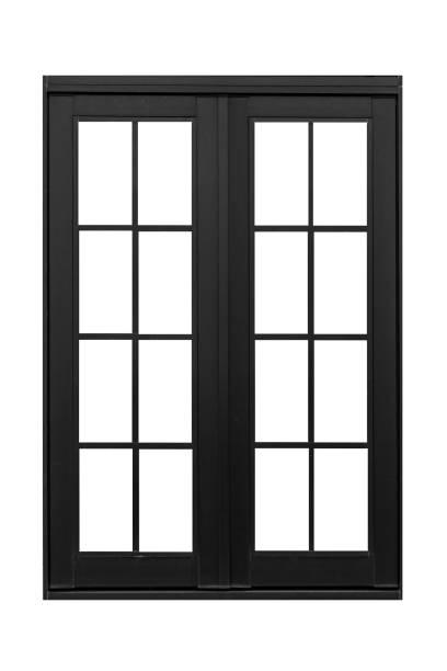 Metal window frame isolated on white background stock photo