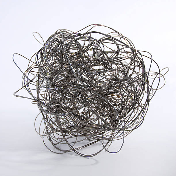 metal wire ball - tangled stock photos and pictures