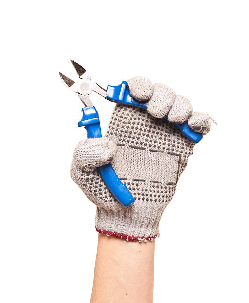 Metal wire cutting pliers hand work tool equipment stock photo