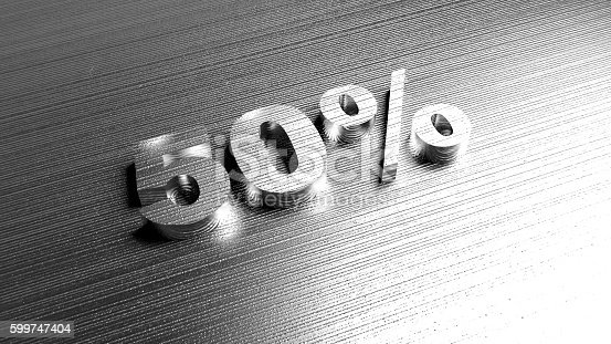istock Metal word '50%' on metal surface. Discount offer. 599747404