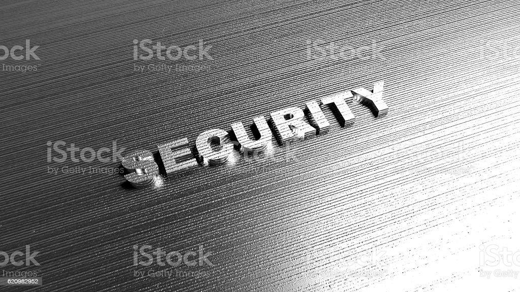 Metal word Security on steel background foto royalty-free