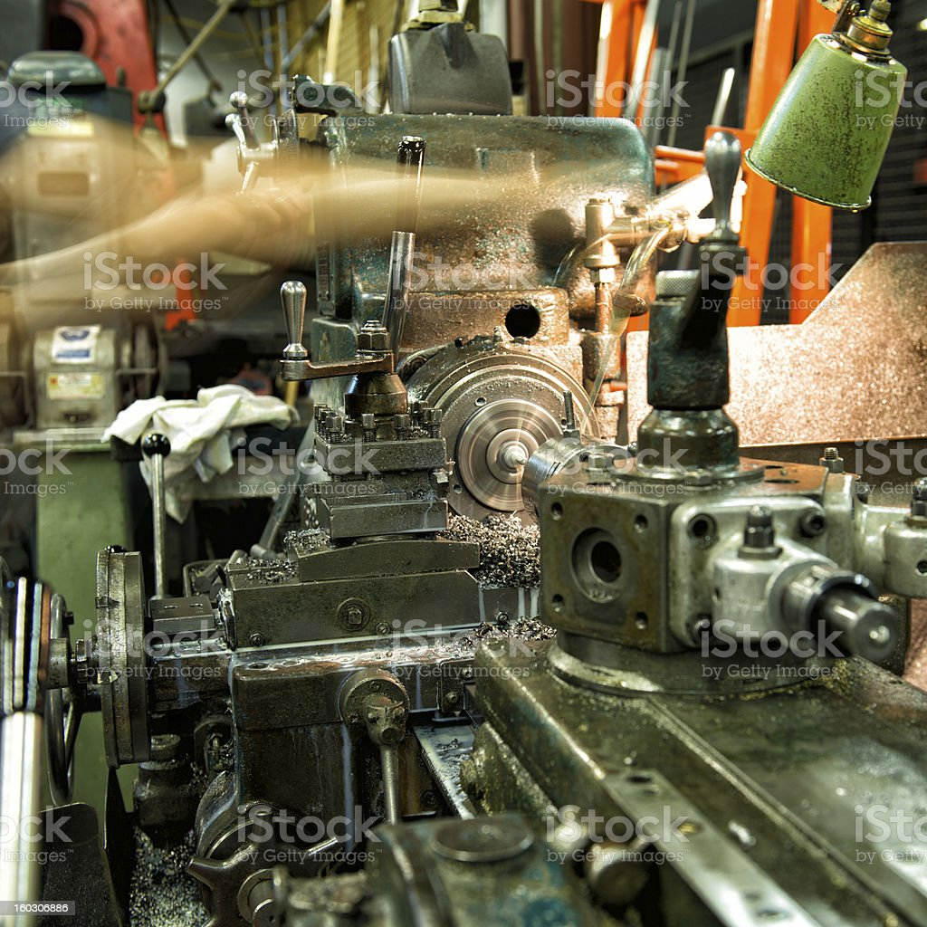 Metal Working Industrial Lathe royalty-free stock photo
