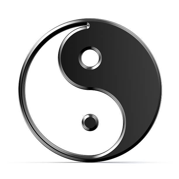 metal yin yang symbol on white background - yin yang symbol stock pictures, royalty-free photos & images