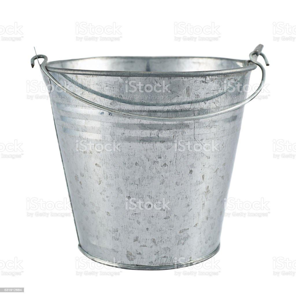 Metal zinc bucket isolated stock photo