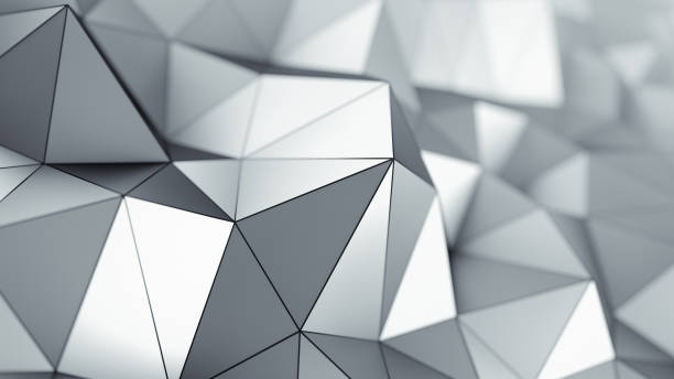 Metalic low poly surface 3D rendering stock photo
