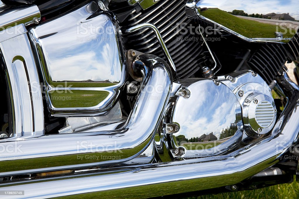 Metalic Motorcycle Muscle; Reflective Chrome Curves, Engine, Pipes, Heavy Metal royalty-free stock photo