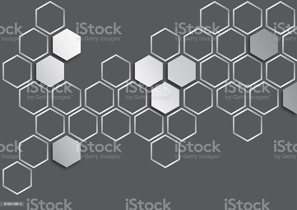 metalic silver hexagon on dark grey background stock photo