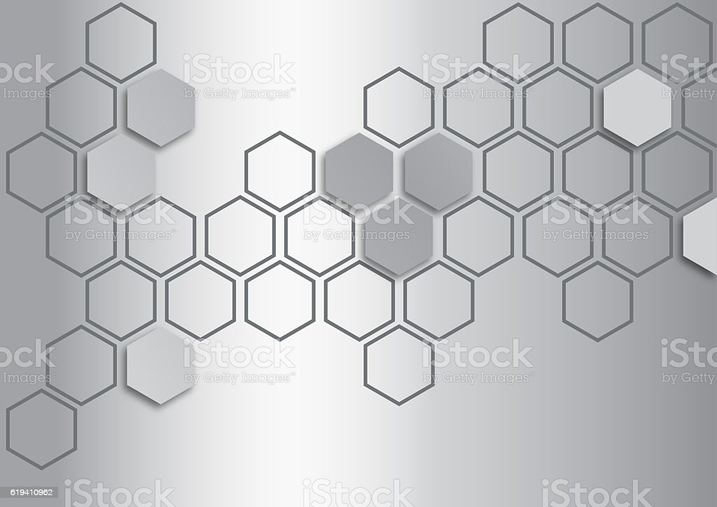 metalic silver hexagon on metalic silver background stock photo