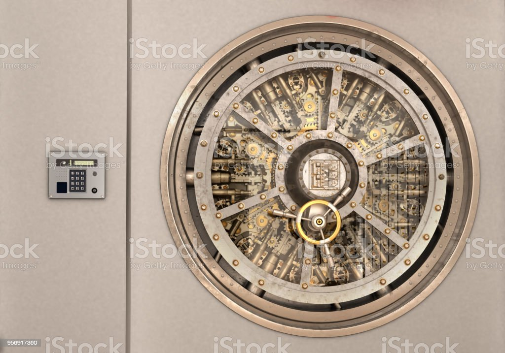 metall bank safe door isolated 3d illustration стоковое фото