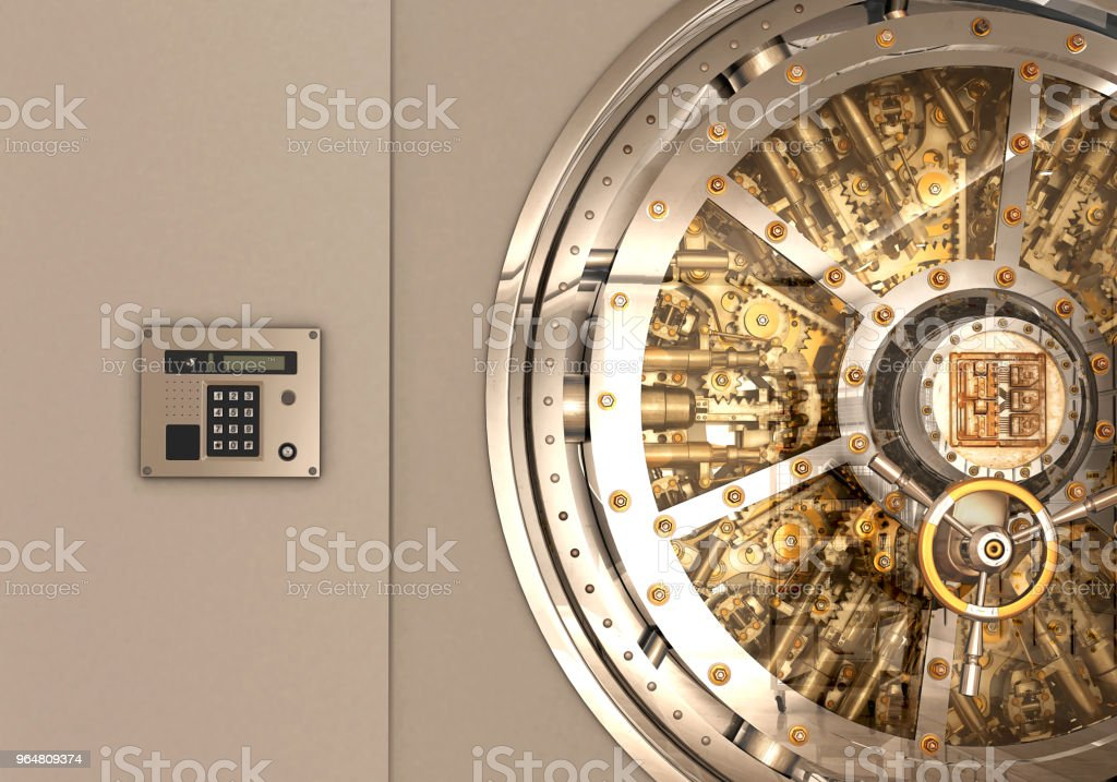 metall bank safe door isolated 3d illustration royalty-free stock photo