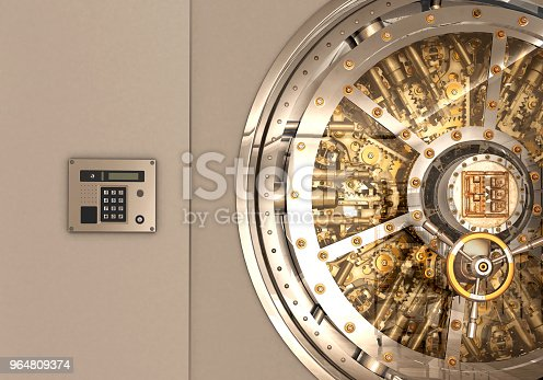 metall bank safe door isolated 3d illustration