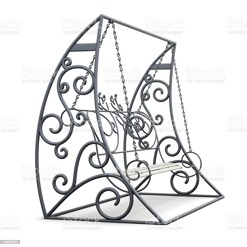Metall garden swing isolated on white background. 3d render imag royalty-free stock photo