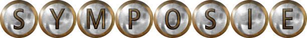 Metallbakgrundskoncept kulor text, flera varianter finns. Användning som exempelvis rubriker webb eller trycksaker information, forskning, utveckling, strategier. Rubrikbild för symposie forskning stock pictures, royalty-free photos & images