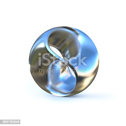 869781130 istock photo Metallic abstract sphere isolated 3d illustration 869780848